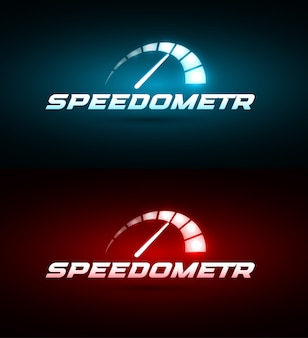 Speedometer icon. blue and red glowing speed indicator set