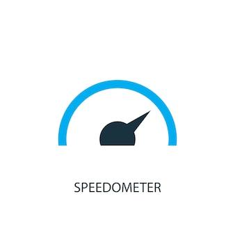 Значок спидометра. иллюстрация элемента логотипа. дизайн символа спидометра из 2-х цветной коллекции. простая концепция спидометра. может использоваться в интернете и на мобильных устройствах.