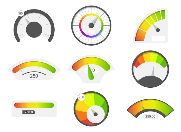 Speedometer icons. credit score indicators. speedometer goods gauge rating meter.