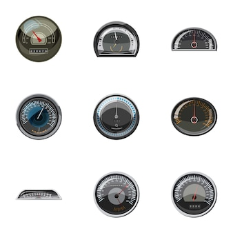Speedometer icons set, cartoon style