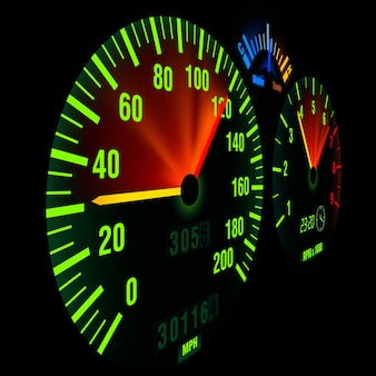 Speedometer, illuminated dash board panel