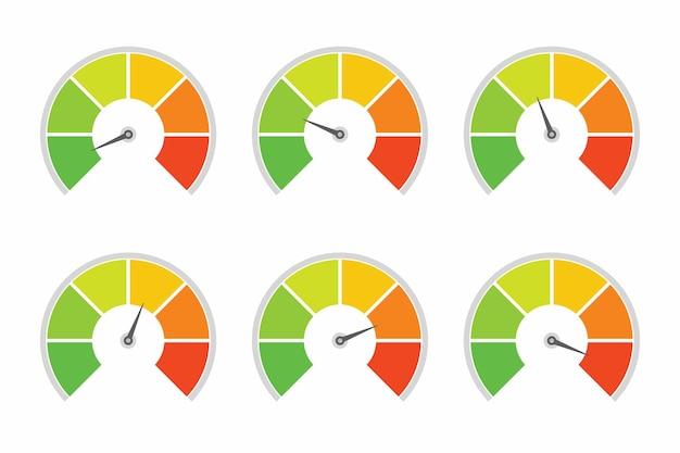다른 품질 수준 벡터 디자인의 등급을 위한 속도계 표시기 수준
