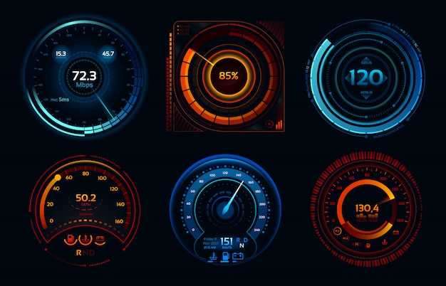Speedometer indicators. power meters, fast or slow internet connection speed meter stages