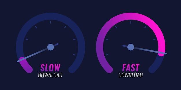 Спидометр интернет индикатор уровня скорости векторный дизайн