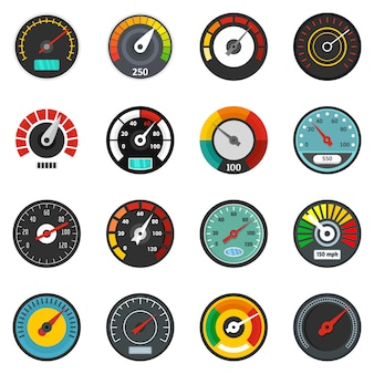 Speedometer level indicator icons set