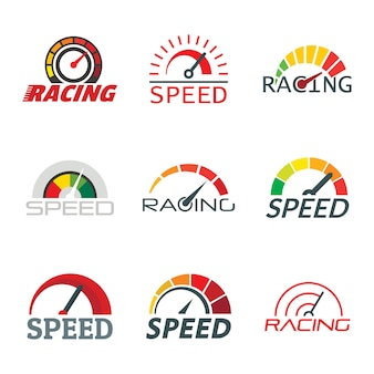 Speedometer level indicator logo set