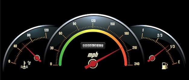 속도계 패널. 밝은 색상의 눈금이있는 검은 색 패널 온도 판독, 속도 및 연료.