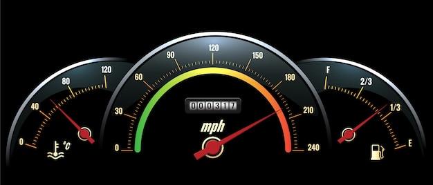 Pannello del tachimetro. lettura della temperatura sul pannello nero, velocità e carburante con scale dai colori vivaci.