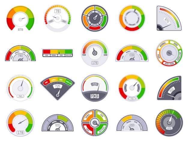 スピードメーターのスコアレベル。良いと低い評価表示、商品スピードメーターレベル、満足度スコアタコメーターインジケーターアイコンセット。スコアレベルの測定、顧客ゲージの図の評価