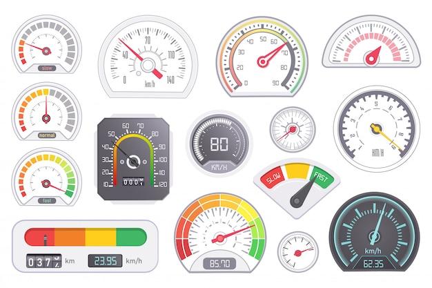Спидометр. векторная панель приборной панели скорости автомобиля и оборудование для измерения ускорения мощности различной формы и формы. набор цифровых табло спидометра изолированные
