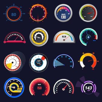 Speedometer vector car speed dashboard panel and speed-up power measurement illustration set