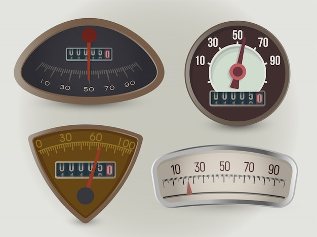 Speedometers, speed gauges realistic illustrations set