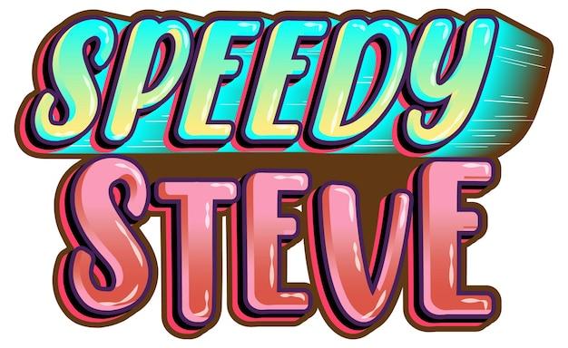 Logo di speedy steve parola su sfondo bianco