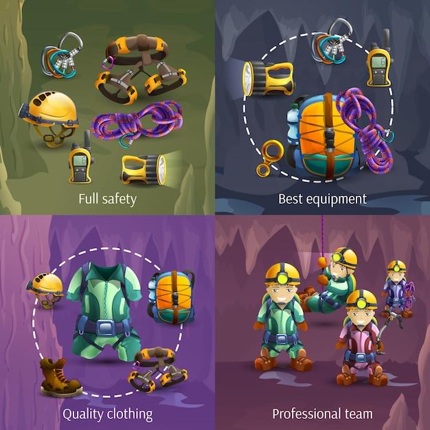 Speleology 4 3d icons square banner