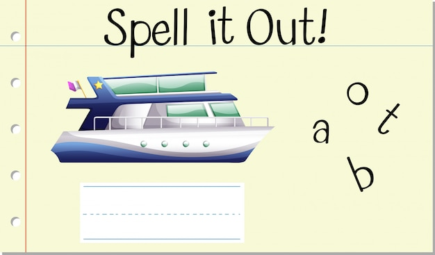 Spell english word boat