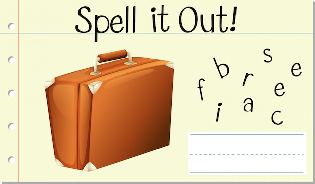 Spell english word briefcase