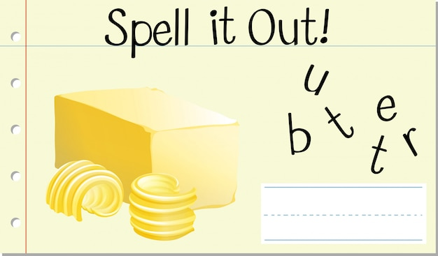 Spell english word butter