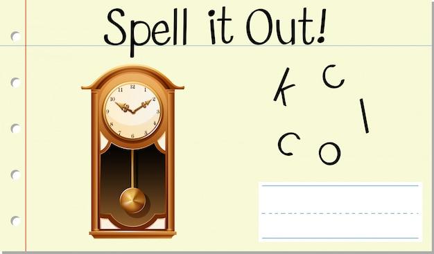 Spell english word clock