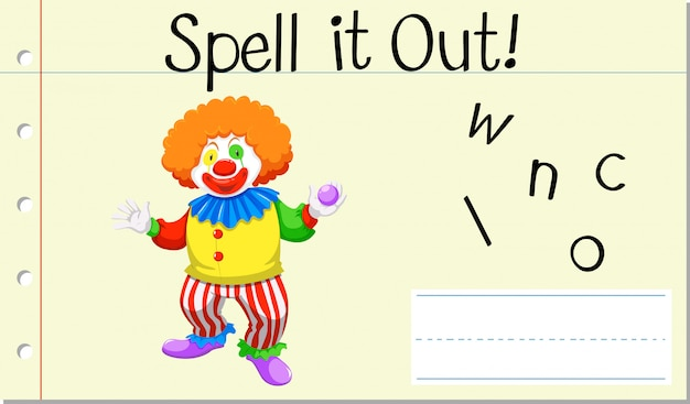 Spell english word clown