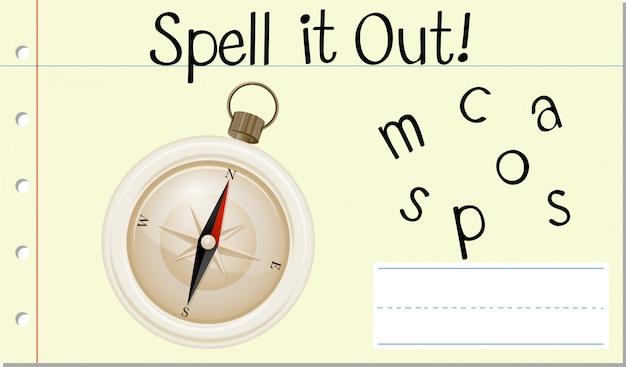 Spell english word compass