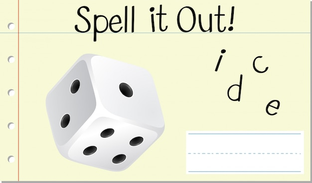 Spell english word dice