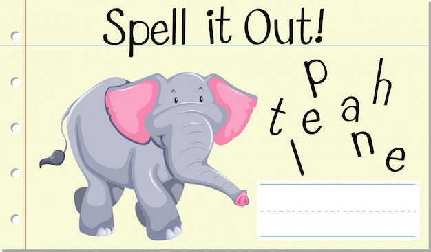 Spell english word elephant