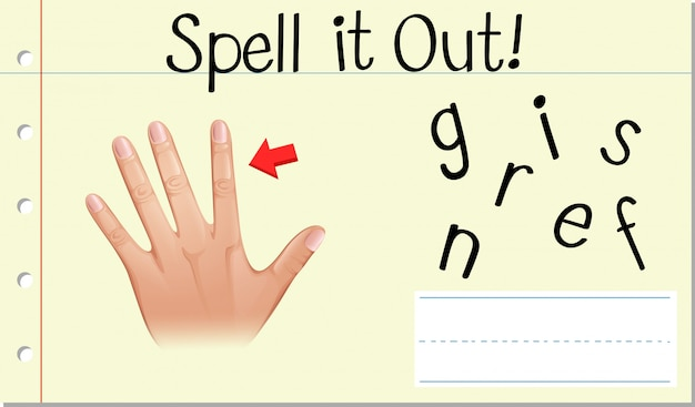 Spell english word fingers