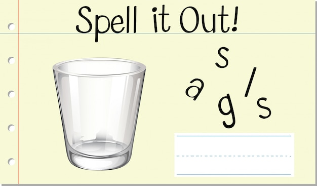 Spell english word glass