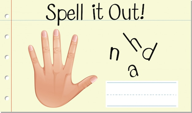 Spell english word hand