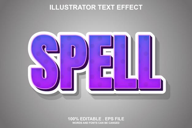Текстовый эффект заклинания редактируемый