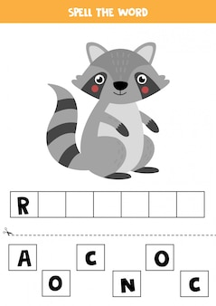 Spell the word by letters. cute cartoon raccoon.