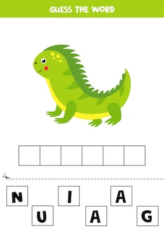 Spell the word iguana. elementary puzzle for kids. printable worksheet for children. learning letters.