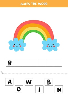 Spell the word rainbow.   illustration of cute kawaii rainbow. spelling game for kids.