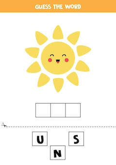 Spell the word sun.   illustration of cute kawaii sun. spelling game for kids.