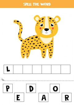 Spelling game for children. cute cartoon leopard