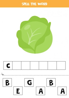 Spelling game for kids. cute cartoon cabbage.