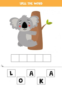 Spelling game for kids. cute cartoon koala on tree.