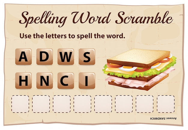 Spelling word scramble game template with word sandwich