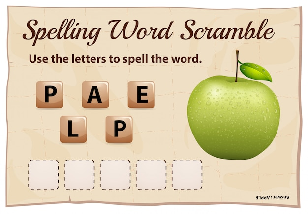 Spelling word scramble game with word green apple