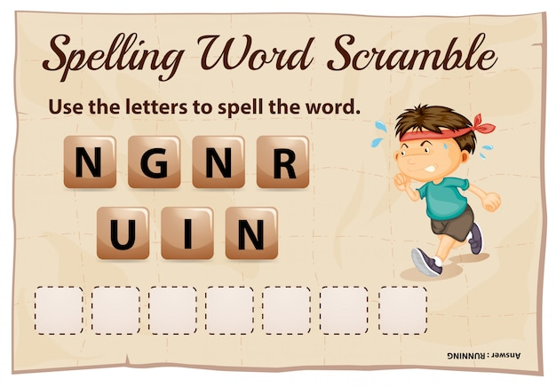 Spelling word scramble game with word running