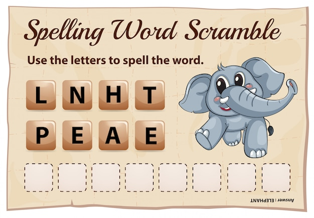 Spelling word scramble game for word elephant