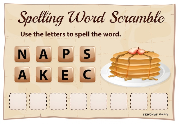 Spelling word scramble template with word pancake