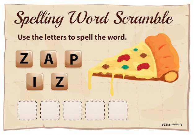 Spelling word scramble template with word pizza