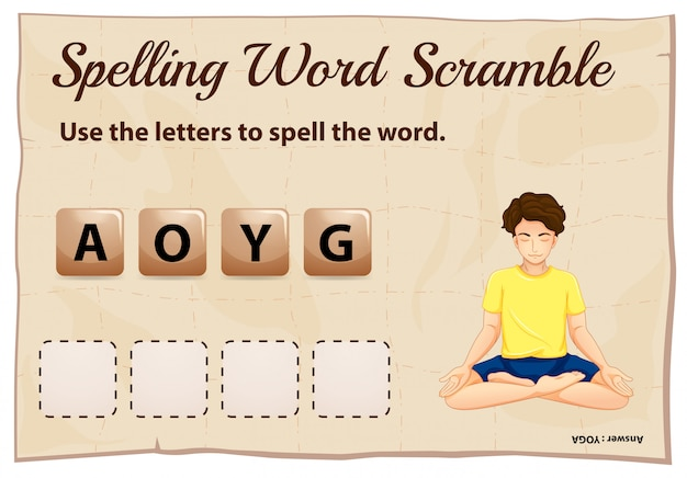 Spelling word scramble for word yoga