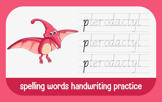 Spelling words dinosaur handwriting practice worksheet
