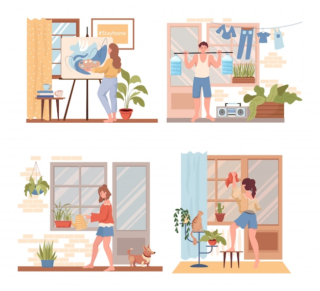 Spend time at home flat concept. people painting, doing sport exercises, cleaning up the flat.