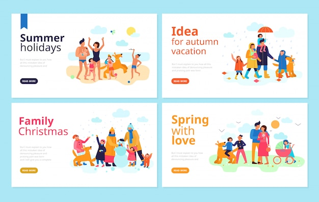 Spending family vacation season holidays free time together ideas flat banners web page