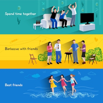 Spending free time together barbecuing with best friends 3 flat banners set