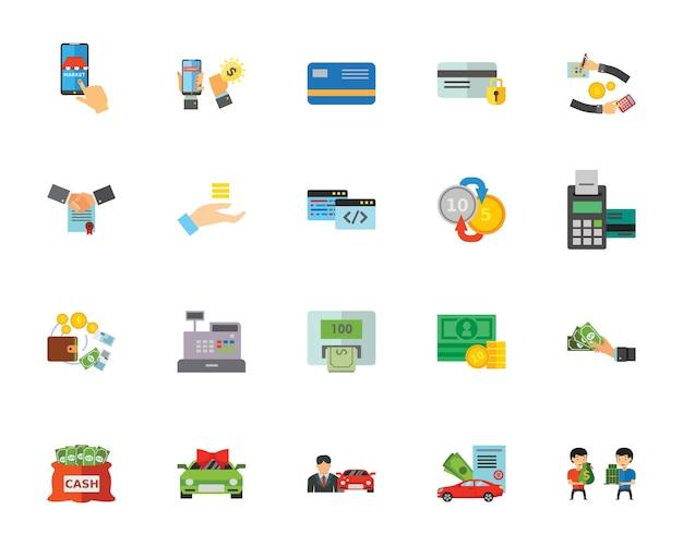 Spending money icon set