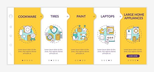 Тратьте больше на высококачественные товары. посуда, шины и диски. адаптивный мобильный сайт с иконками. экраны пошагового просмотра веб-страниц. цветовая концепция rgb